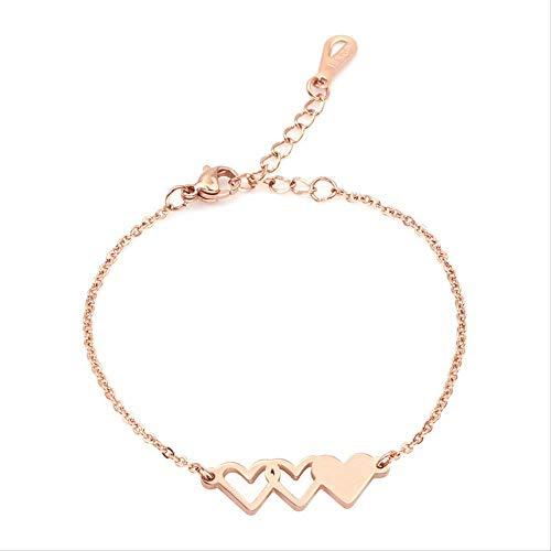 LFWQ Europa en de Verenigde Staten creatieve mode familie armband perzik hart vorm zuster titanium staal armband