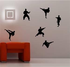 Online Design 6X Karate Pegatina Adhesiva Vinílica Pared Adhesivo para Dormitorio Niños - Negro