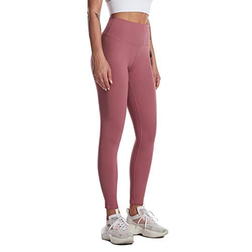 Mallas de compresión con Cintura Alta,opacos Sexy Pantalones de compresión,Pantalones de Yoga de Cintura Alta, Pantalones de Fitness de Cadera melocotón-Rosa A_S