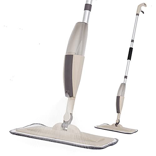 Hard Floor Mop Spray Mop for Home Kitchen Wood Tile Laminate Ceramic Floor Cleaning Tool with 250ml Refillable Water Tank Include Extra 2 Microfiber Washable Reusable Pads and 1 Scraper