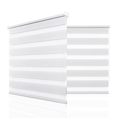 HOMEDEMO Doppelrollo Klemmfix ohne Bohren (Weiss, 80x150cm) Duo Rollo mit Klämmträgern Sicht und Sonnenschutz für Fenster & Türen