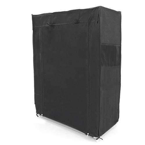 PrimeMatik Armario ropero y Zapatero de Tela Desmontable 60 x 30 x 93 cm Negro con Puerta Enrollable (DX076), 60 x 30 x 93