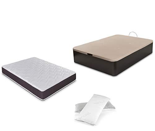 Dormidán - Pack de canapé abatible de Gran Capacidad + colchón viscoelástico + Almohada visco Copos de Regalo (135_x_190_cm, Wengué)