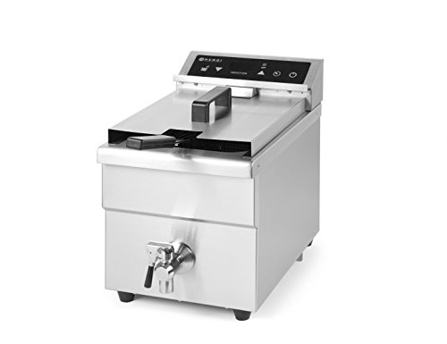 HENDI Induktionsfriteuse, mit Frittierkorb und Deckel, Präzise Temperatur Kontrolle, mit Timer, überhitzungsshutz, 8L, 230V, 3500W, 290x485x(H)406mm, Edelstahl
