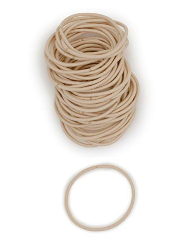 Heliums Beige Blonde Thin 2mm Hair Elastics, Color Match Hair Ties for Fine Hair, 1.75 Inch Standard Size - 40 Count
