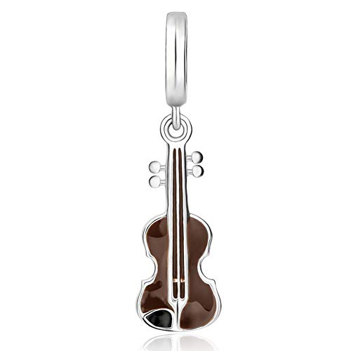 EvesCity Genuine Bolenvi 925 Sterling Violin Musical Instrument Charm Beads Pendants for Charms Bracelets & Necklace