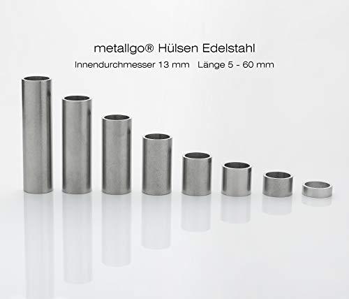 Edelstahl Distanzhülsen, Abstandshülsen – ohne Innengewinde, M12 Schrauben beweglich durchsteckbar – 16 x 13 x 1.5 mm (Außen x Innen x Wandstärke) – 5 Stück, Länge 40 mm