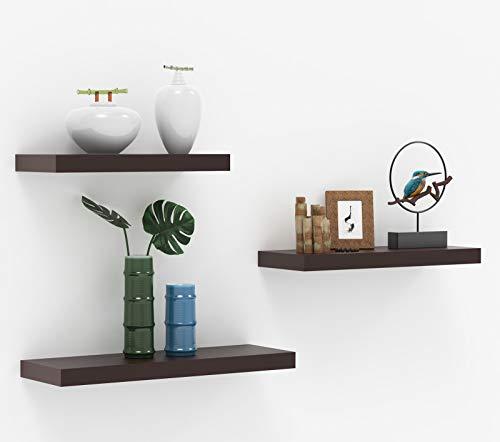 HOMWOO Floating Shelves Wood Wall Shelves Set of 3