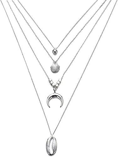 Collar Collar para hombre Collar con colgante de mujer Fion Bohemian Luna Shell Card Collares de perlas para mujer Collares y collar de madera contrachapada con colgante Joyas Regalo para niñas