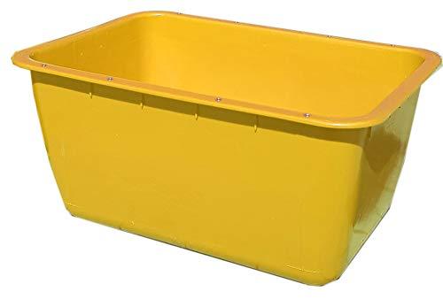 UvV-FMK 2te Wahl 200 Liter gelbe Mörtelwanne ohne Kranösen (verzinkter Stahlschiene als Verstärkung der Langen Seite) Fehlfarben, Farbabweichungen (Gelb)