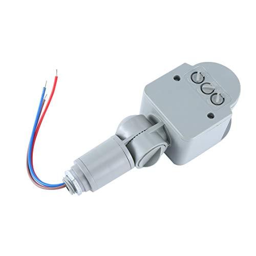 DDyna Interruptor de luz con Sensor de Movimiento Profesional Interruptor de Sensor de Movimiento PIR infrarrojo automático AC 220V para Exteriores con luz LED - Gris