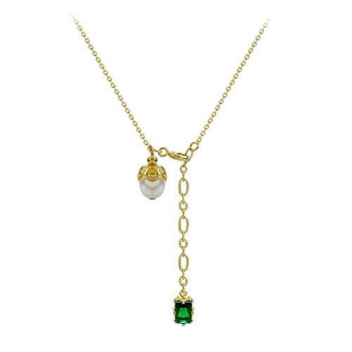 FLLXSMFC Collar de perlas de 45 cm de aleación de oro verde cristal imitación perla collar colgante collar de una sola capa vintage todo partido