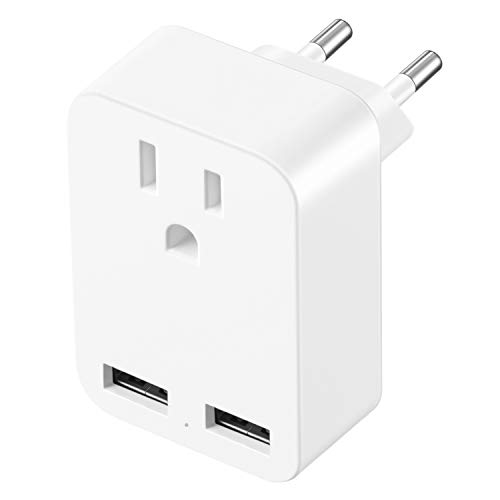 European Travel Plug Adapter,XZOLMO International Power Adapter with 2 USB Ports,Europe to US Converter for EU,Italy,Germany,Spain,France,Iceland,Greece,Israel etc.