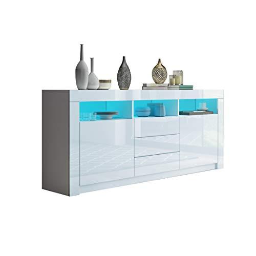 UNDRANDED Moderner Sideboard Schrank Kommode in Front Hochglanz 2 Türen 3 Schubladen Esszimmer Küche Buffet Schrank mit LED Streifen 160 x 72 x 35cm (Weiß)