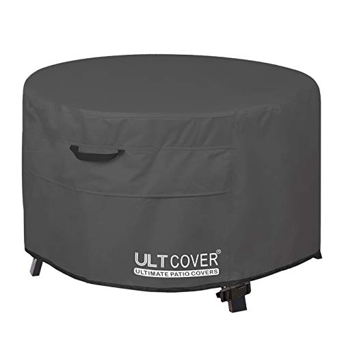 ULTCOVER Patio Fire Pit Table Cover Round 32 inch Outdoor Waterproof Fire Bowl Cover, Black