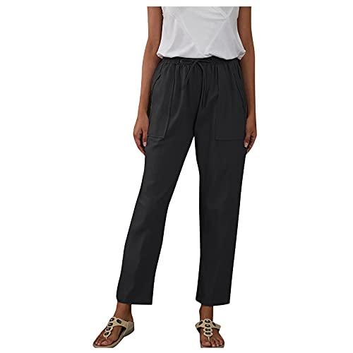 Liably Pantalones de lino para mujer, de algodón y lino, elásticos, con cordón, de cintura alta, ligeros, elegantes, para verano, tiempo libre, jogging, playa, sueltos, de un solo color, negro-a, XL