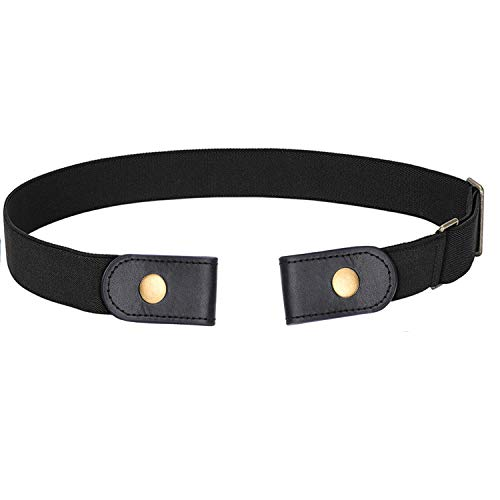 No Buckle Stretch Belt For Women Men Elastic Waist Belt Up to 72 Inch for Jeans Pants,Black,Pants Size 23-30 Inches