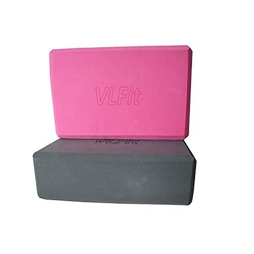 VLFit-uppsättning med 2 yogablock / yogablock - Välj färg och storlek (GRÅ och ROSA)