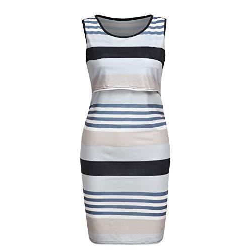 Yaseking Women's Summer Striped Print Sleeveless Nursingwear Nursing Vest Tank Dress Breastfeeding Dress (S, Black)