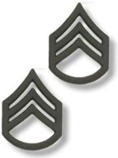 US Army Staff Sergeant Black Collar Device Rank Insignia Pair