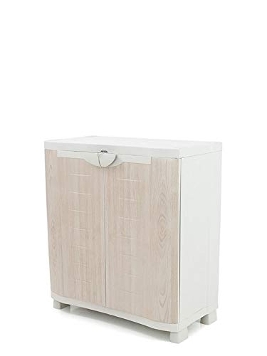 Plastiken Medio Armario SPACE SAVER 90cm con 2 estantes metálicos con puertas imitación madera de HAYA (90cm de ancho x 45cm de hondo x 100cm de alto)
