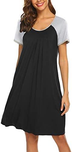 Ekouaer Sleepwear for Women Raglan Short Sleeve Nightgowns Round Neck Womens Pajama Dress Black product image