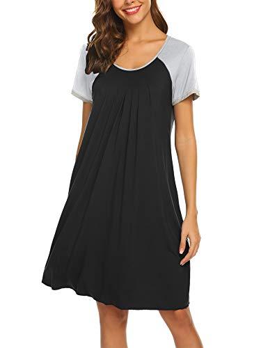 Ekouaer Sleepwear for Women Raglan Short Sleeve Nightgowns Round Neck Womens Pajama Dress,Black XXL