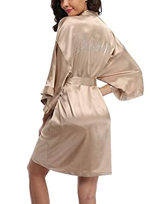 WitBuy Satin Kimono Robe Short Silk Bathrobe for Bride and Bridesmaid Nightgown Champagne XS