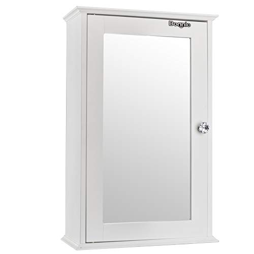 Bathroom Wall Cabinet with One Mirror Single Door Multipurpose Storage Organizer Shelves Home Furniture Bright White Finish