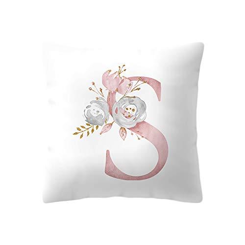 BIGBOBA.Bianco e Rosa Federa per Cuscino Modello in Lettera Cuscini Divano con Fiore di Cotone Divano Letto Home Bed Decor 45 * 45cm