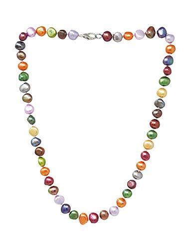 TreasureBay Impresionante collar de perlas de agua dulce multicolor de 8-9 mm con cierre de pinza de langosta de 53 cm