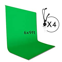 Kit Include: [1 x ] 6 x 9 ft Green Muslin Backdrop, [4 x ] Backdrop Clips 6 ft wide and 9 ft tall green muslin backdrop background screen Nice soft non reflective surface, professional looking portrait photos [4 x ] Photography Backdrop Clips, keep t...