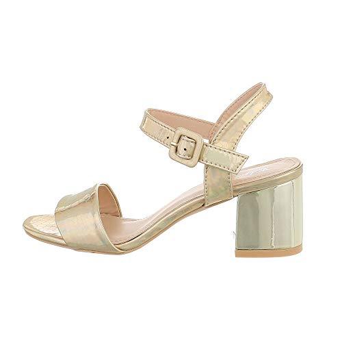 Ital Design Damenschuhe Sandalen & Sandaletten High Heel Sandaletten, A135-, Kunstleder, Gold, Gr. 41