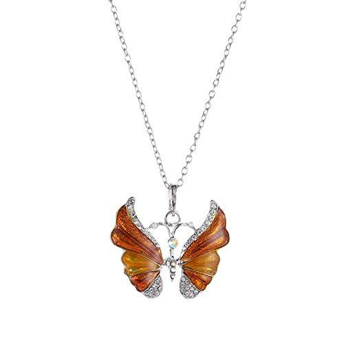 LLD Collar de Mariposa Azul Degradado para Mujeres niñas Color Plateado Mariposas arcoíris Colgante Gargantilla Collares Regalo de joyería, Amarillo