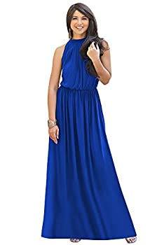 KOH KOH Womens Long Sexy Sleeveless Bridesmaid Halter Neck Wedding Party Guest Summer Flowy Casual Brides Formal Evening A-line Gown Gowns Maxi Dress Dresses Cobalt Royal Blue L 12-14