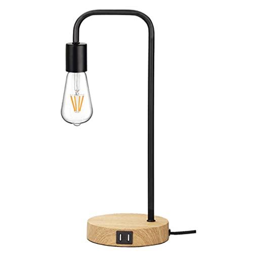 MJJLT Lámpara De Escritorio Industrial, Lámpara De Mesa Regulable con Control Táctil De 3 Vías con 2 Puertos De Carga USB para Sala De Estar, Dormitorio, Oficina