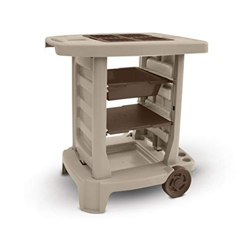 Suncast Portable Outdoor Garden Cart - Durable Resin Gardening Center on Wheels - Store Garden Accessories and Equipment - Ideal for Gardening and Outdoor Projects - Taupe