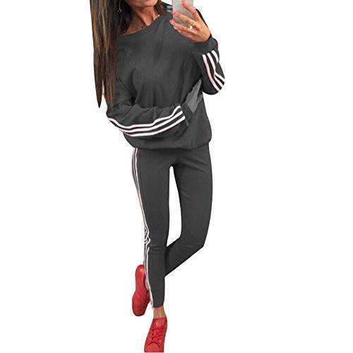 Tidecc Trainingsanzug für Damen, lange Ärmel, seitlich gestreift, für Sport, Joggen, Fitnessstudio, Workout, Outfit, Playsuit, 4 Farben Gr. 38-40, dunkelgrau