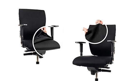 CLEANCHAIR Set: Bürostuhl 2er Überzugsset für die SITZFLÄCHE und RÜCKENLEHNE - Schwarz