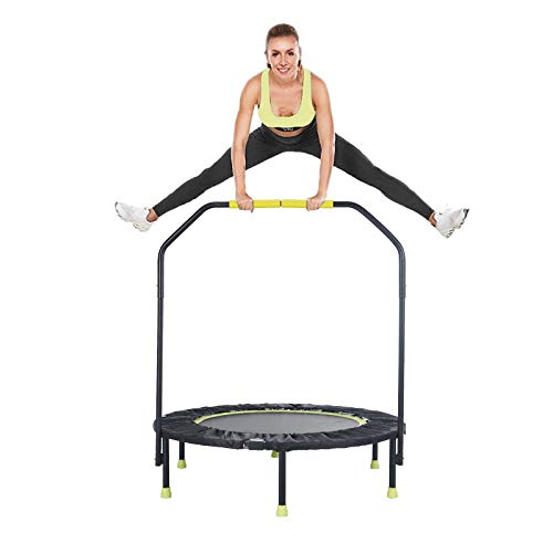"""Gulujoy Foldable Mini Trampoline for Kids Adults Indoor Exercise Workout with Handle Bar, 40"""" Fitness Rebounder Trampoline Max Load 400 Lbs"""