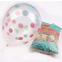 数字バルーン 10個入りピンクの風船は、ポルカドット、ラテックスバルーン子供の誕生日パーティーを飾るの女の赤ちゃんの王女のアニヴェルセルをクリア 装飾 (Ballon Size : 12inch, Color : Multi)