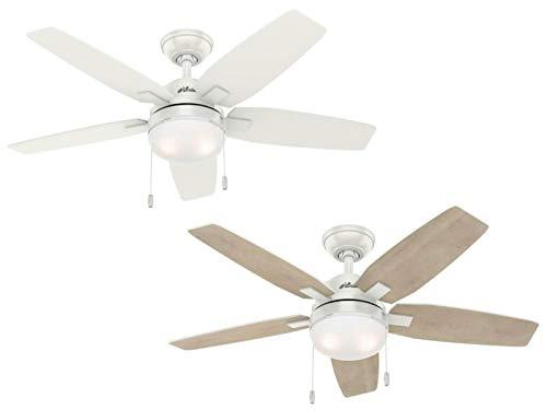 Hunter Fan 46 Zoll Moderner Deckenventilator mit LED-Beleuchtungsset in frischem Weiß, 5-Blatt (erneuert)