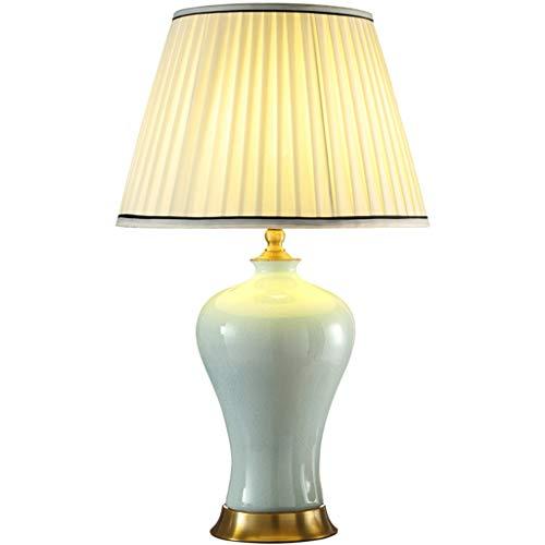 Lampe de table F Lampe de table en céramique Ice crack style chinois rétro salon chambre lampe de chevet