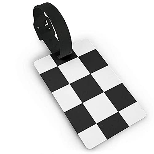 Gepäckanhänger Schachbrett Schwarz-Weiß-PVC-Namensschild Reisekoffer-Identifikations-ID-Tags Langlebiges Gepäcketikett