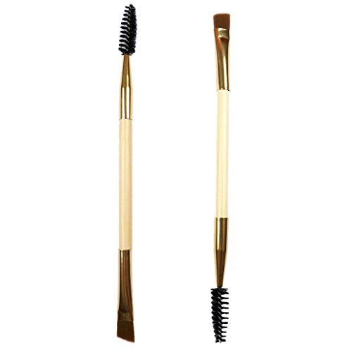 SM SunniMix 2 Bambou Double Fin Sourcils Cils Brosse Mascara Baguette Maquillage Outil De Peigne De Maquillage