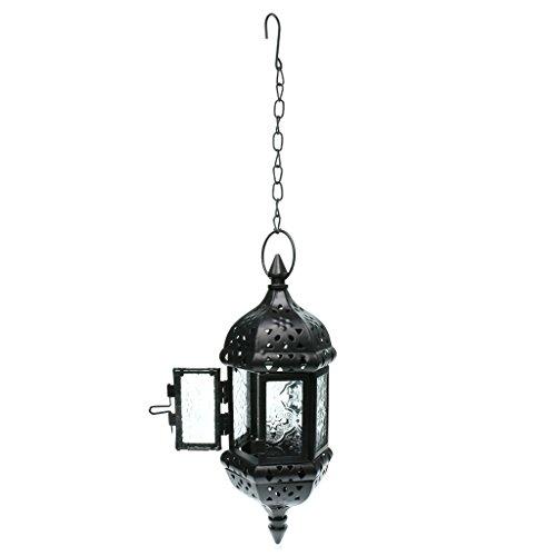 B Blesiya Candelabro Colgando Cadena Decorativo para Vela Linternas, en Estilo Marroquí Vintage - Negro