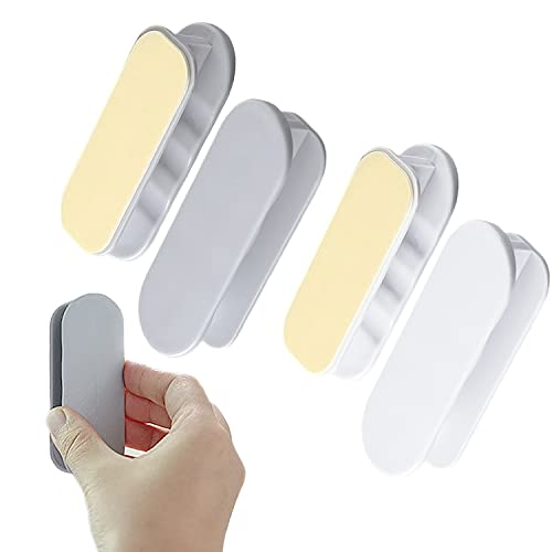 4 PCS Self-Stick Instant Cabinet Drawer Humanity Handle Helper Auxiliary for Kitchen Cabinet Knobs Drawer Wardrobe Push Pull Helper Stick-on Pull Cover Device(White,Gray)