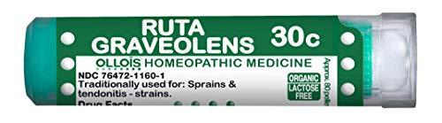OLLOIS Organic & Lactose-Free Ruta Graveolens 30C Pellets, Homeopathic Medicine for Sprains, Strains & Tendinitis - 80 Count
