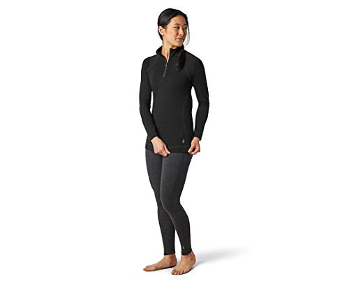 SmartWool Women's Merino 250 Baselayer 1/4 Zip T (Black) Medium