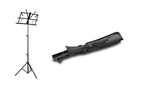 ZOUNDHOUSE ZH-5 Notenständer schwarz mit Tasche, sehr einfache Bedienung (beim Aufklappen nicht verbiegbar)